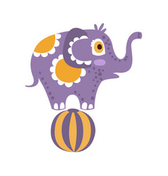 cute cartoon elephant character standing on a ball vector image