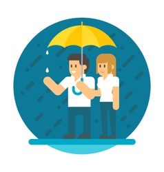 Flat design couple in the rain vector image