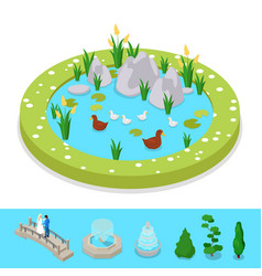 isometric city park composition with water pond vector image vector image