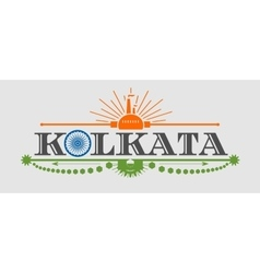 Kolkata city name with flag colors styled letter O vector image vector image
