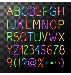 Neon Alphabet Set vector image