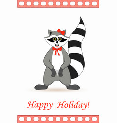 raccoon a gargle postcard greetings for the vector image vector image