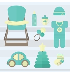 Set baby for boy elements vector image