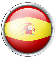 spain flag on round button vector image vector image