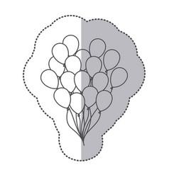 Sticker silhouette bunch of birthday balloons vector