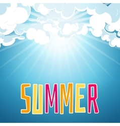 Sunny summer blue sky background vector image