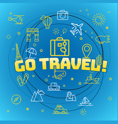 go travel concept different thin line icons vector image vector image