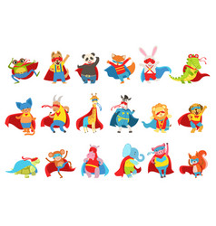 Animals dressed as superheroes with capes and vector