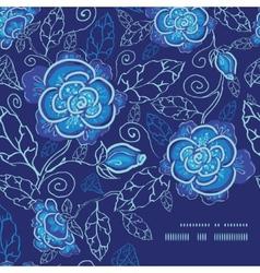 blue night flowers frame corner pattern background vector image vector image