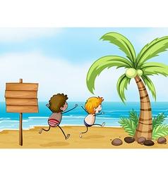 Children having fun at the beach vector image vector image