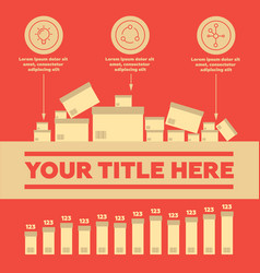 Delivery elements and bar chart vector