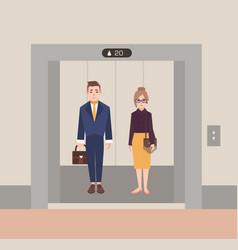office workers standing in open elevator business vector image vector image