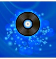 Retro vinyl disc on blue background vector