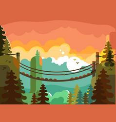 suspension bridge in jungle design flat vector image vector image