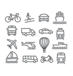 Transport Line Icons vector image