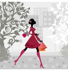 urban shopping girl vector image