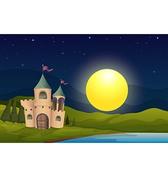 A castle in the middle of the hill vector image