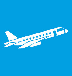 Airplane taking off icon white vector