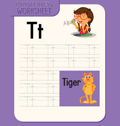 Alphabet tracing worksheet with letter vector