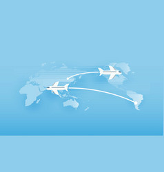around the world travelling by plane vector image