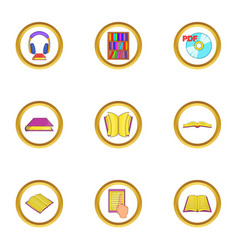 Audiobook icons set cartoon style vector