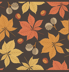 Autumn seamless pattern with horse chestnut vector
