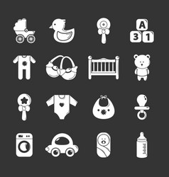 baby born icons set grey vector image