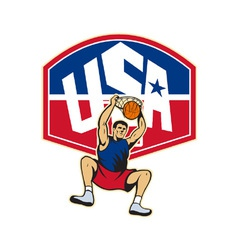 Basketball player dunking ball usa vector