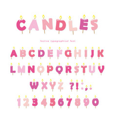 Birthday candles font design abc letters vector