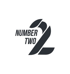 Black and white number two logo formed by abstract vector image