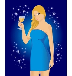 Blonde in the blue vector
