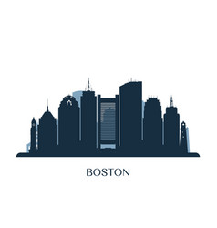 Boston skyline monochrome silhouette vector
