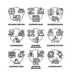 Business set icons black vector