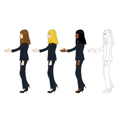 business woman long hair hand shake vector image