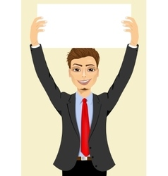 businessman holding white blank board vector image