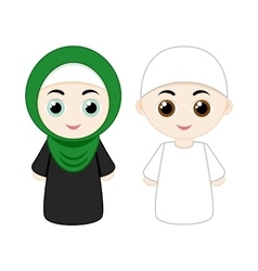 Cartoon muslim couple vector