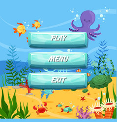 cartoon style buttons design sealife vector image