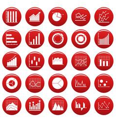 chart diagram icon set vetor red vector image