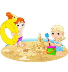 Children at beach vector
