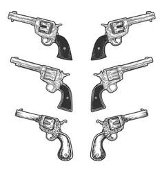 Collarbone tattoo revolvers set sketch vector