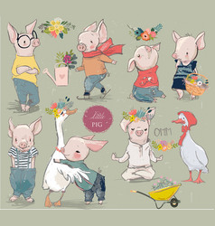 collection with piggy and duck vector image