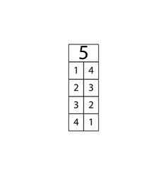 Composition number five table sign eps ten vector