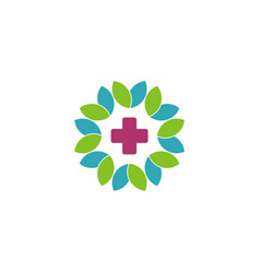 Cross health care and flower logo template vector