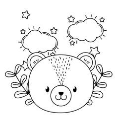 Cute animal face dreaming cartoon vector