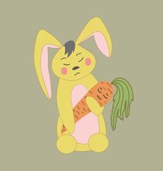 Cute rabbit with carrot vector
