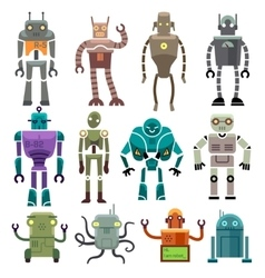 Cute vintage robot icons and characters vector