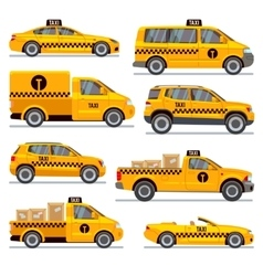 Different taxi types flat collection vector