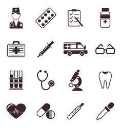 Digital black medical icons vector