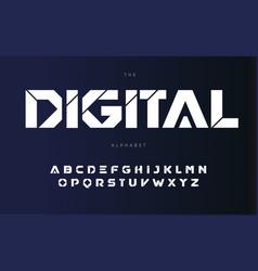 Digital urban alphabet bold futurism style vector