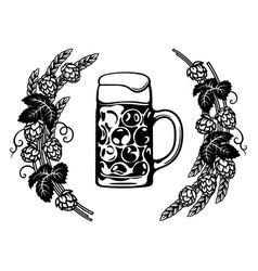dimpled oktoberfest glass beer mug in frame hop vector image